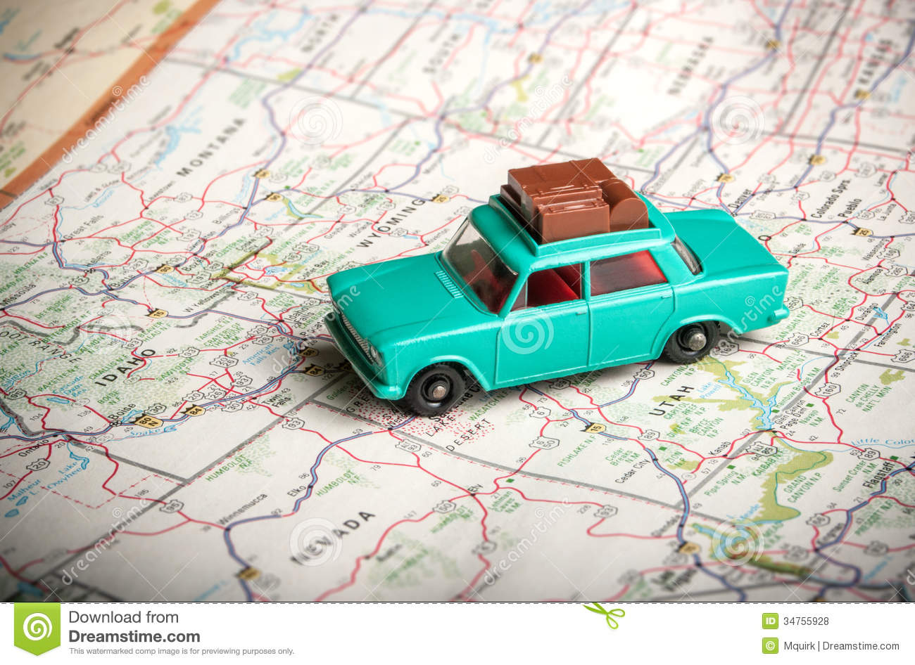 Roadmap Of The Us%0A Toy Car On A Road Map Royalty Free Stock Photos Image  Vintage us road map