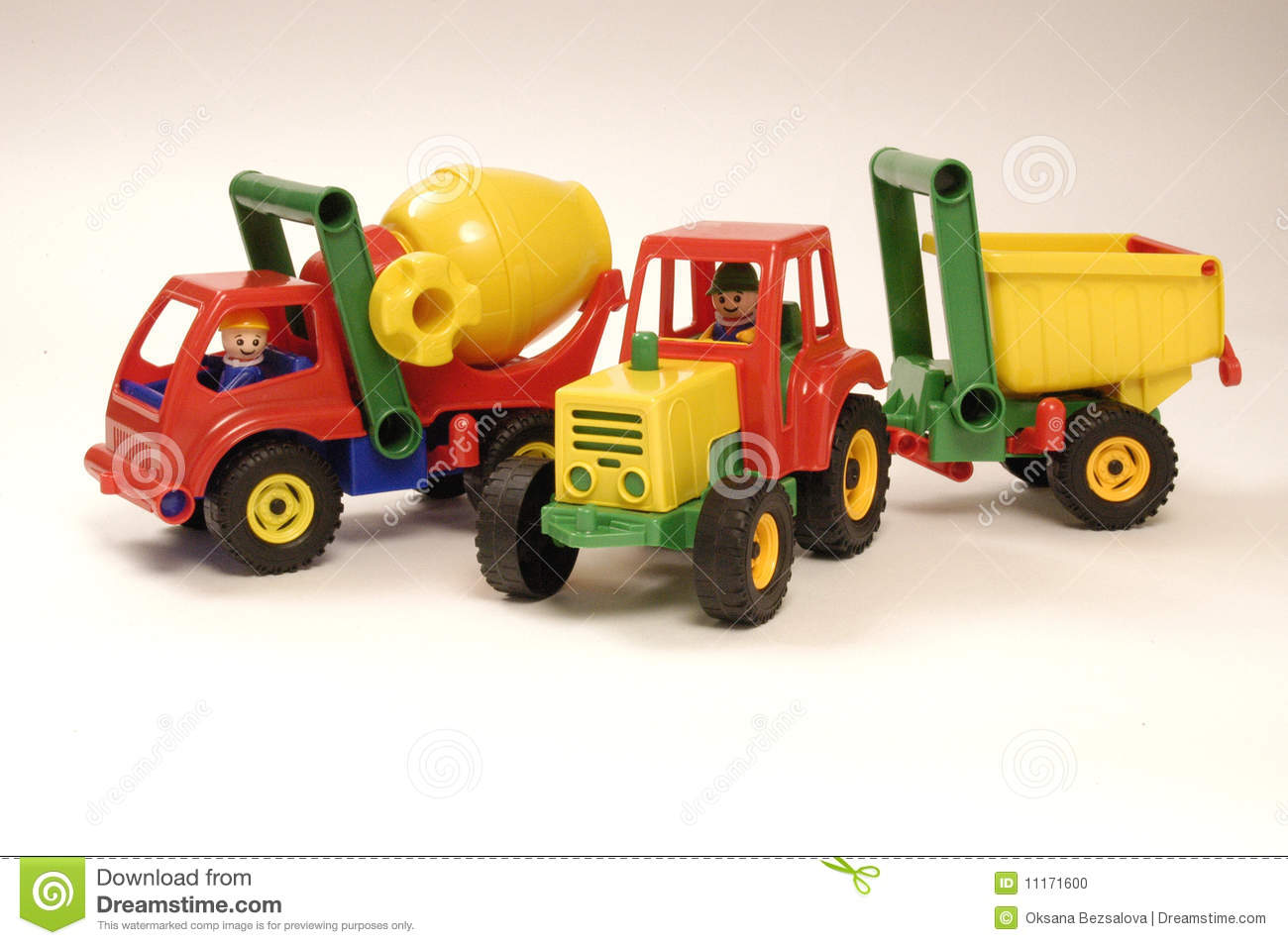 Toy car and tractor