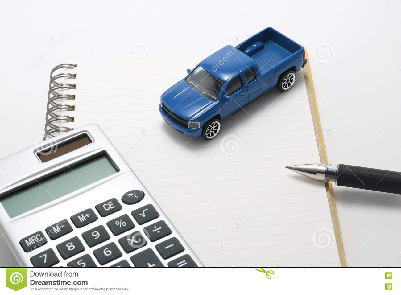 Toy car truck calculator notebook and pen
