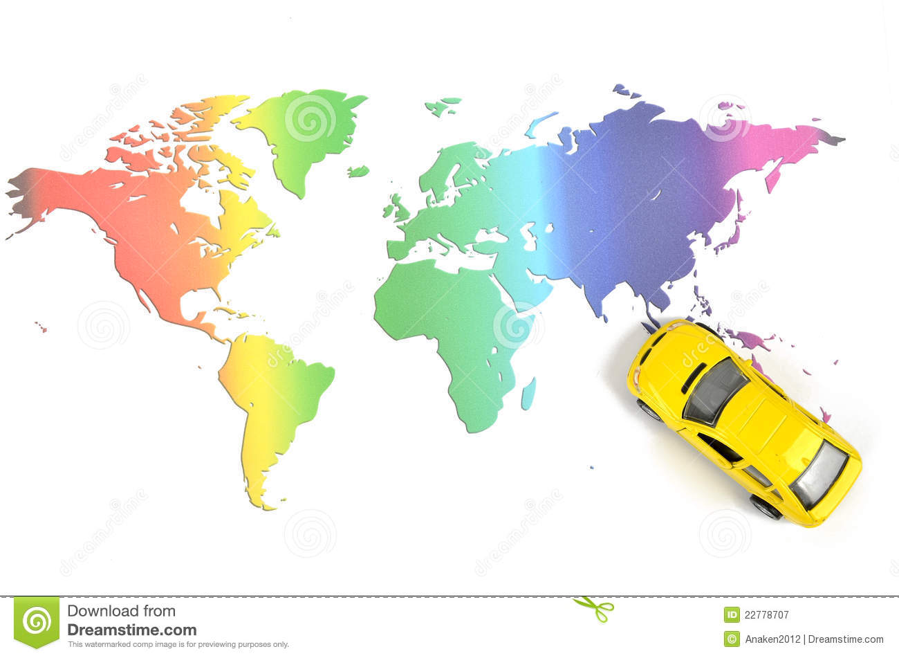 Toy car and world map
