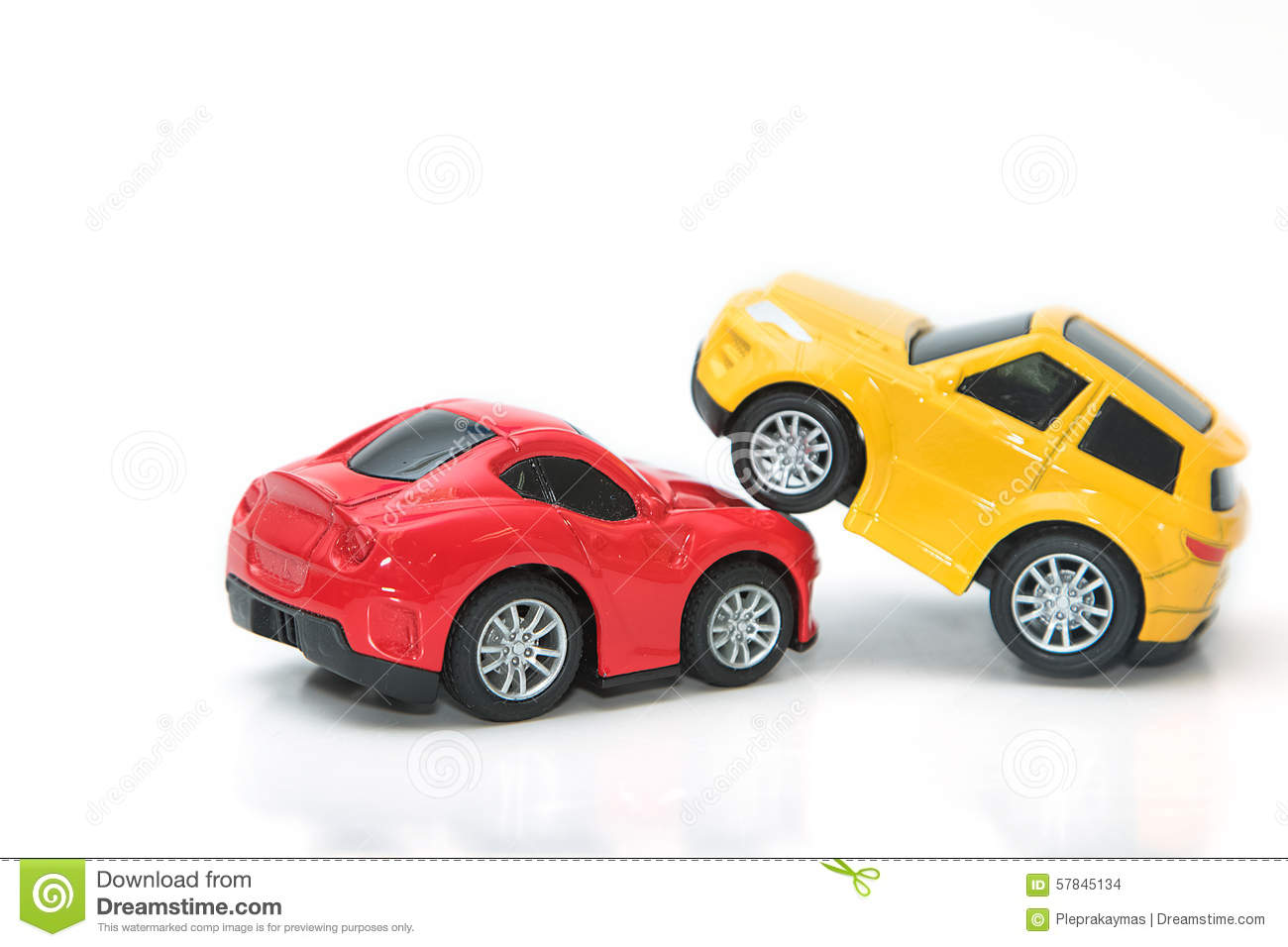 Toy Cars In Accident On A White Background Stock Photo Image Of