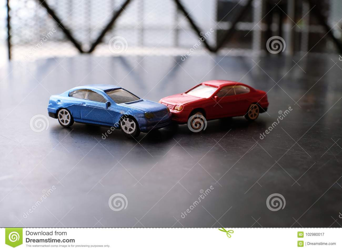 Toy Cars Crash Accident. Simulation Red And Blue Car Stock Image ...