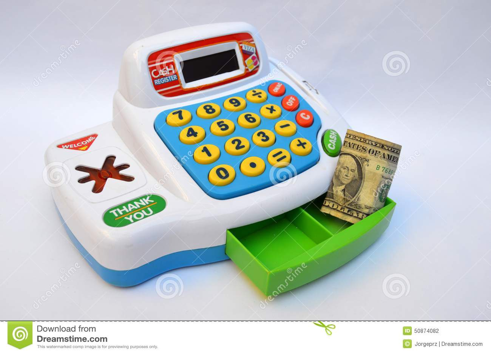 Toy Cash Register Machine Stock Photo - Image: 50874082