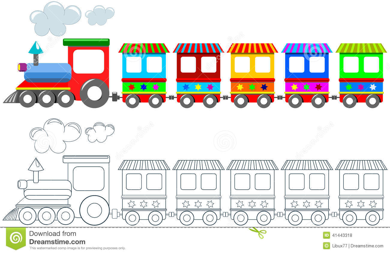 graphic about Printable Train called Toy Vibrant Practice Coloring Webpage Isolated Inventory Vector