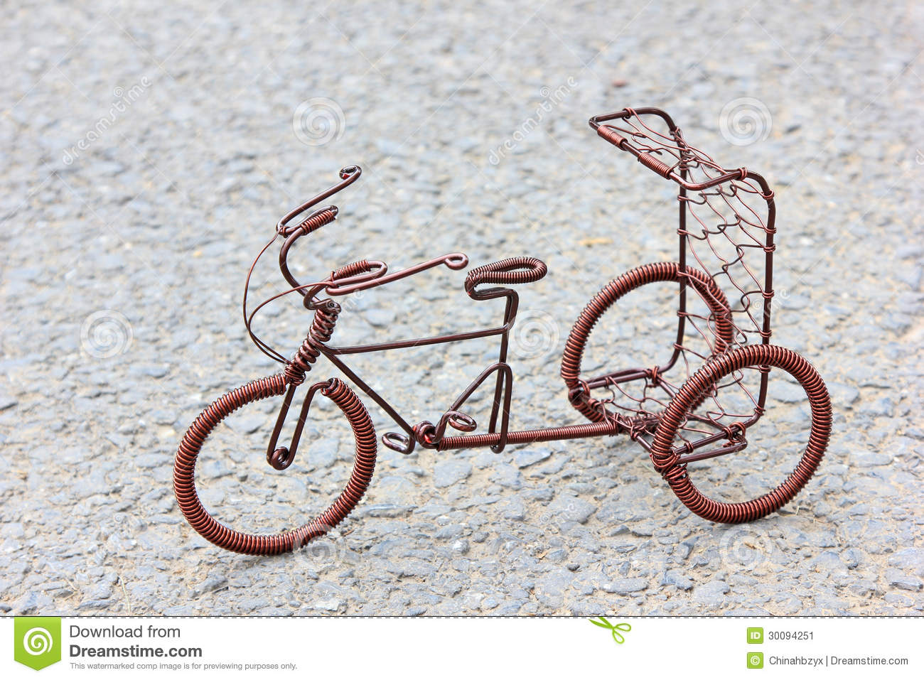 Toy Crafts Bicycle Made Of Copper Wire Stock Image - Image of ...