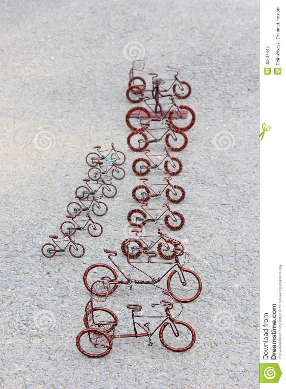 Toy Crafts Bicycle Made Of Copper Wire Stock Image - Image of brown ...