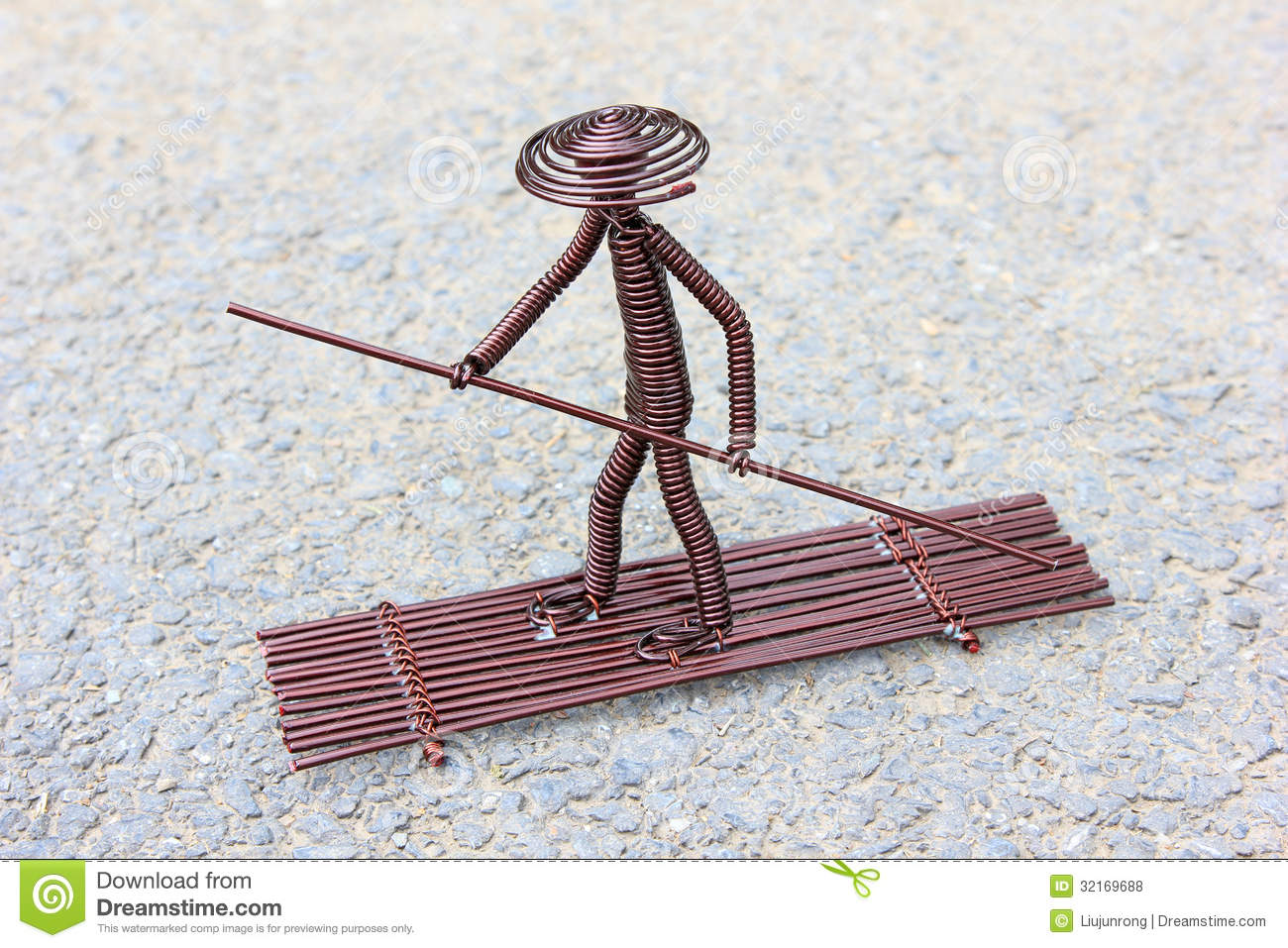 Toy Crafts Boatman Made Of Copper Wire Stock Photo - Image of ...
