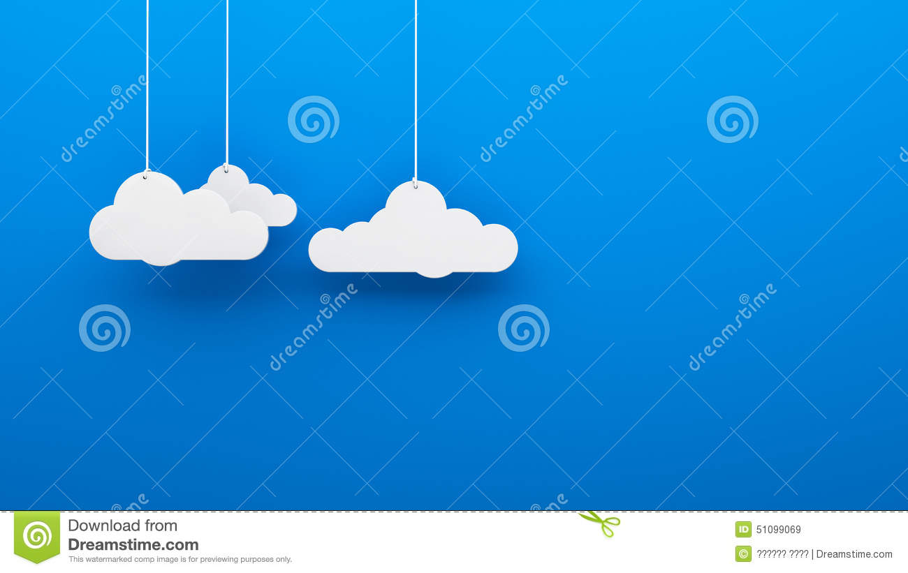 Three white clouds with cords thread rope on opaque mat heaven background