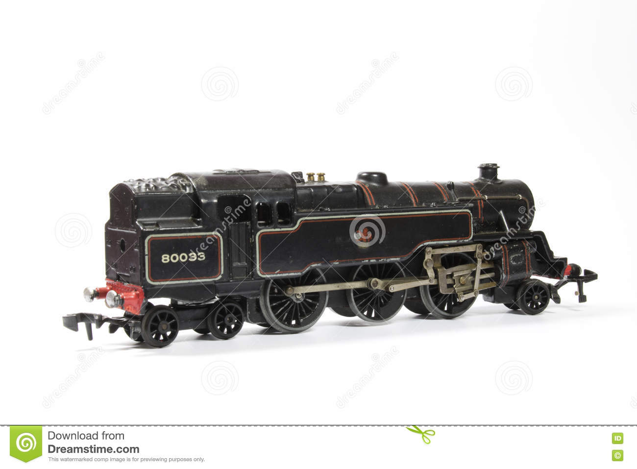 Toy Electric Model Train On White Background Stock Image