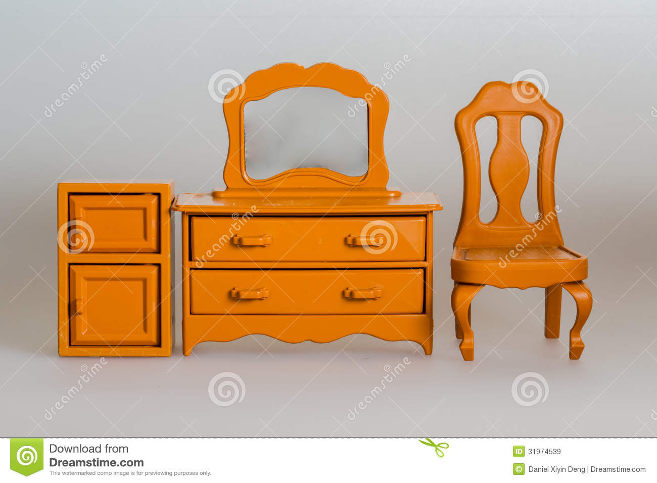 Toy Furniture Wooden Desk Cabinet And Chair Stock Image Image 31974539