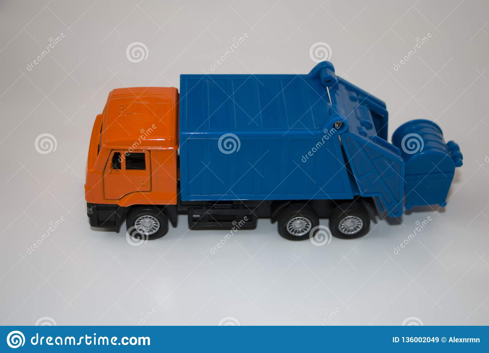 Toy garbage truck on a white background