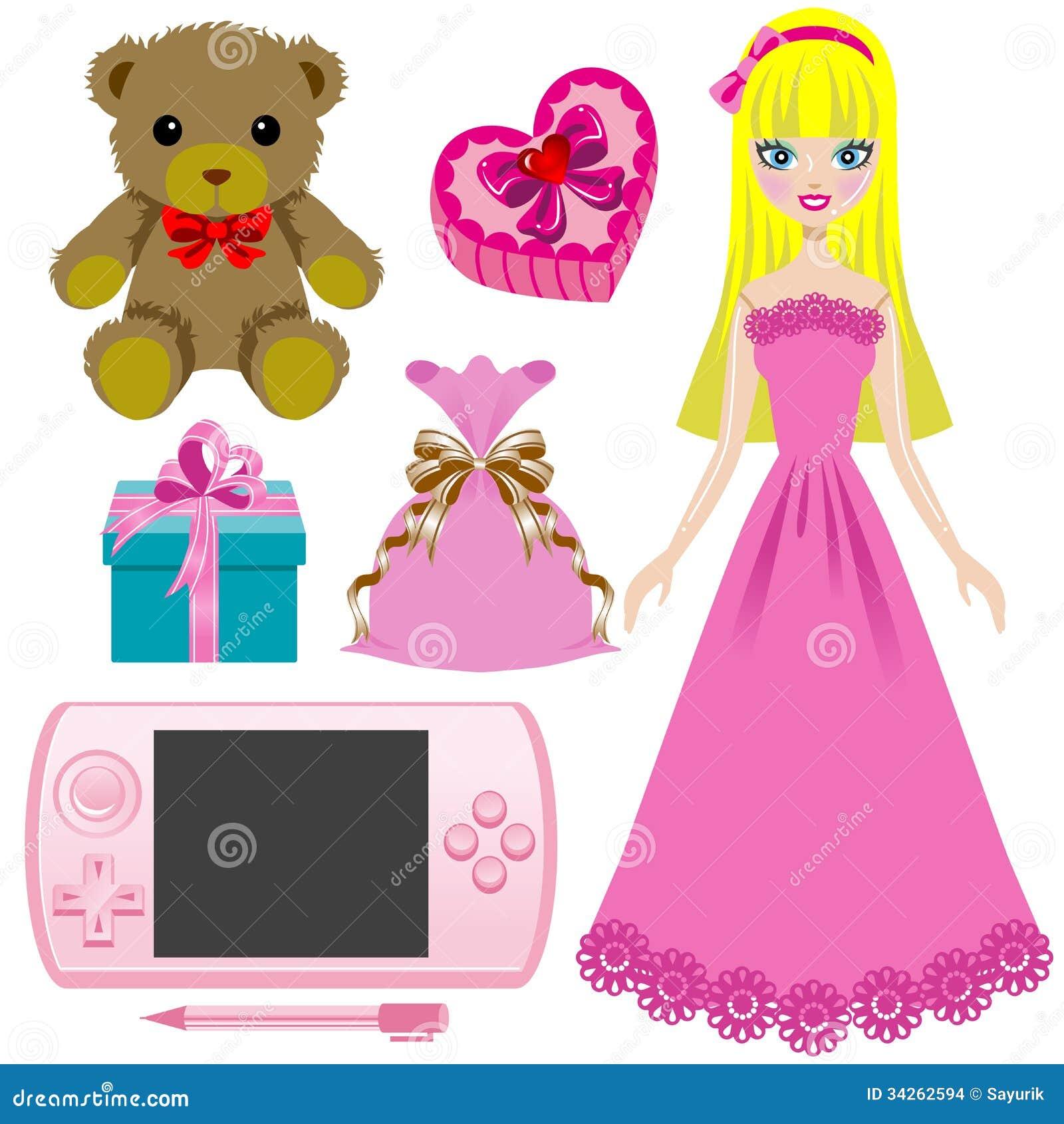 Girl Toys Clip Art : Toy for girls stock vector image of girl doll animal