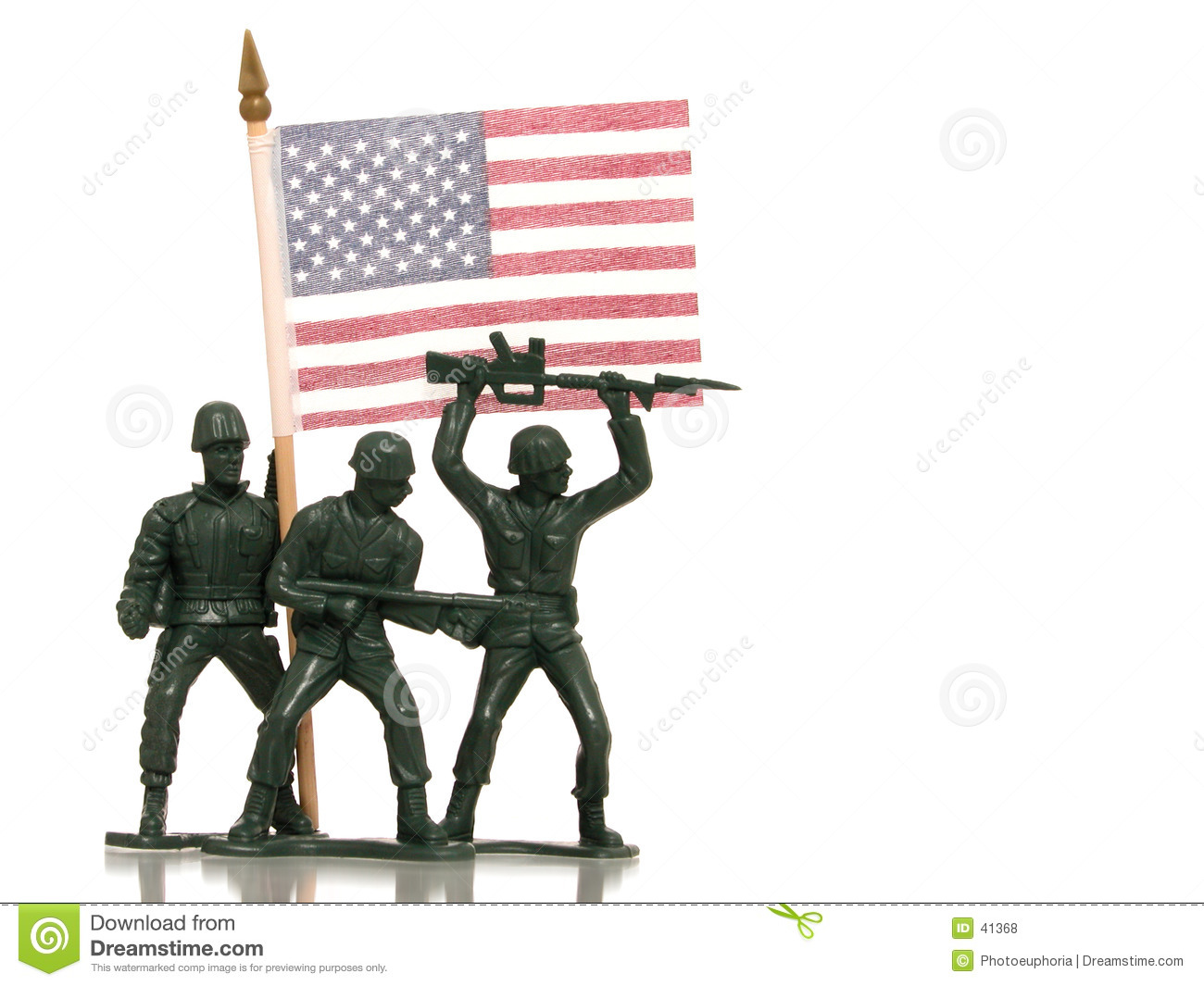 Toy Green Army Men with US Flag on White