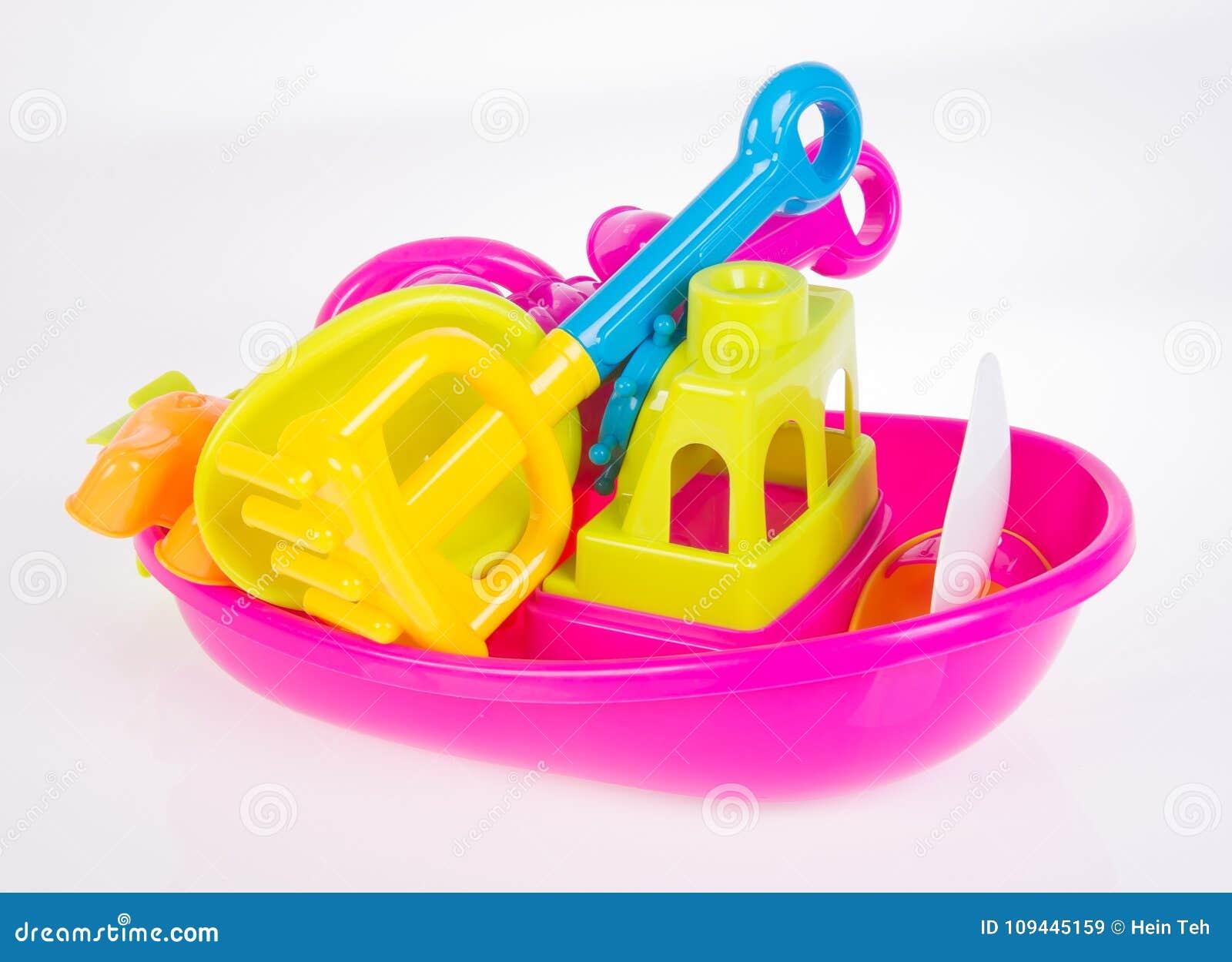 Toy Het speelgoed van de strandbaby op de achtergrond