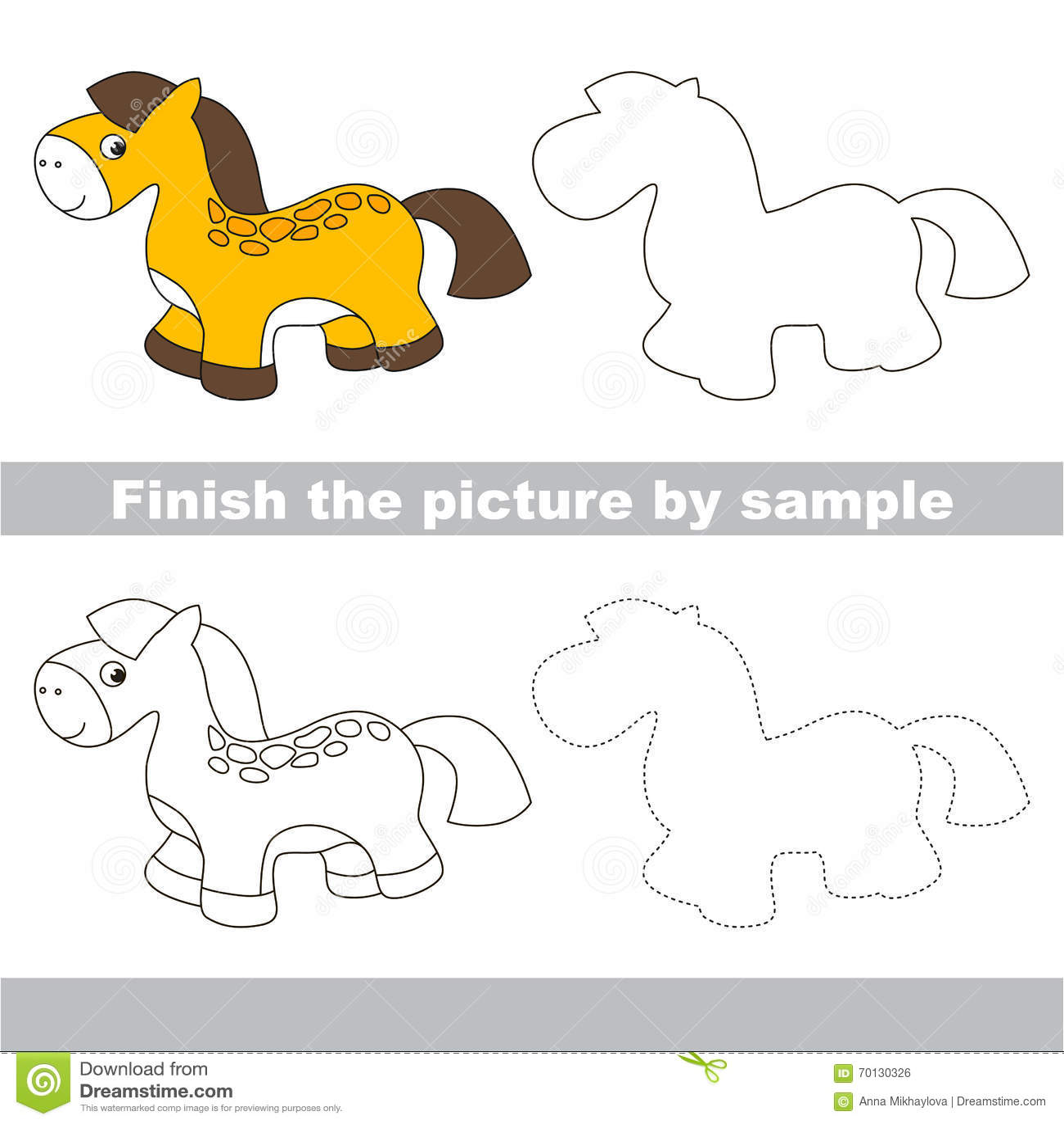 Toy Horse Drawing Worksheet Stock Illustration Illustration Of Finish Task 70130326
