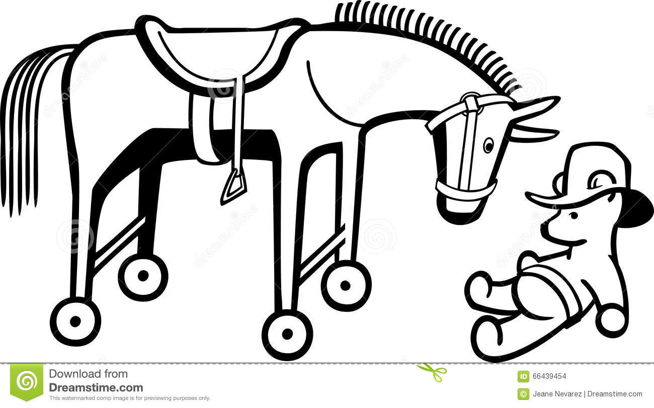 Line drawing a toy horse with wheels and a teddy bear wearing a hat.