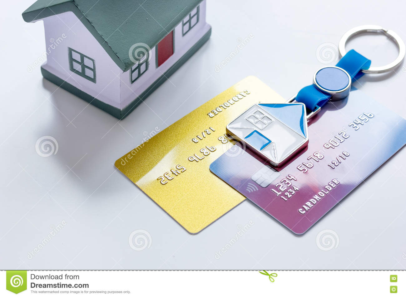 Toy House Credit Cards Concept Mortgage On White Background Stock