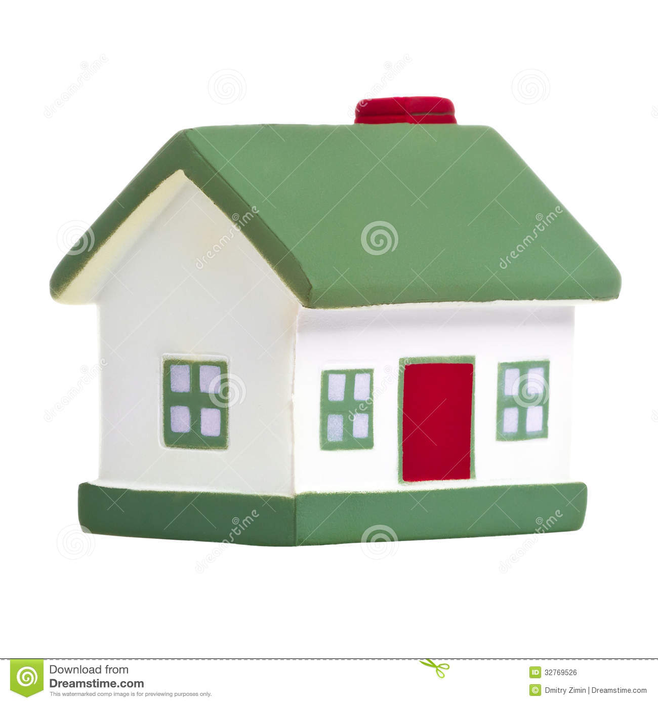 Toy house with green roof