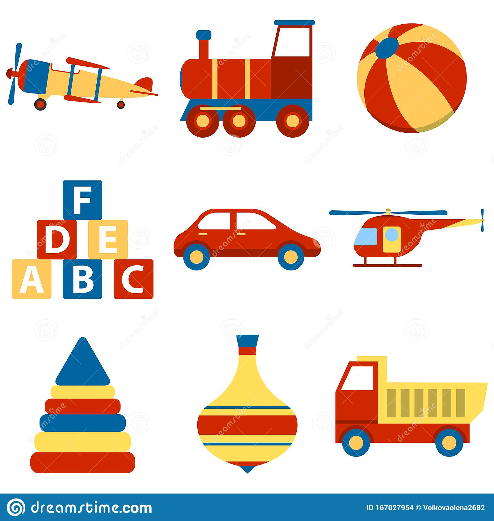 Children Play With Toys Vector Illustration ...