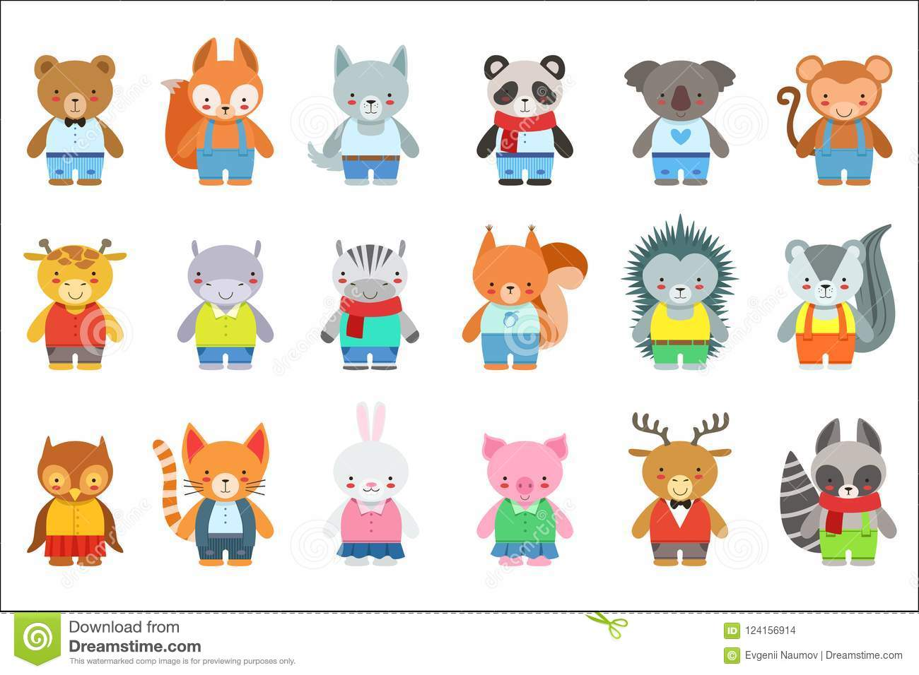 Toy Kids Animals In Clothes Characters Set. Cute Cartoon