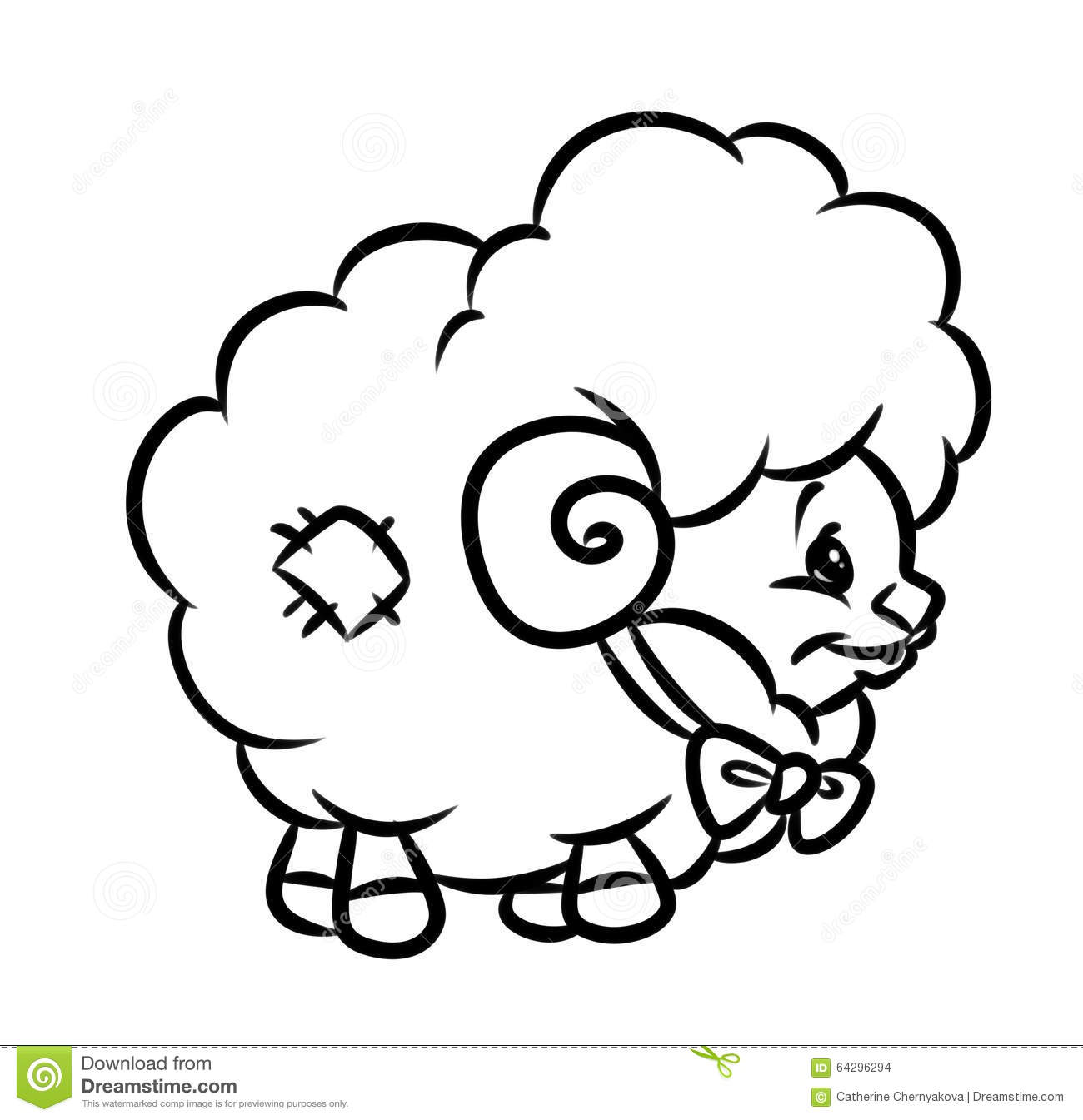 Toy lamb coloring page stock illustration. Illustration of line ...