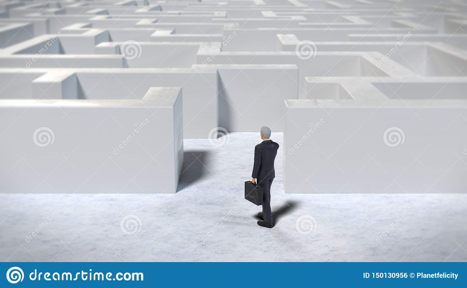 Toy miniature businessman figurine entering a white maze structure, 3d illustration