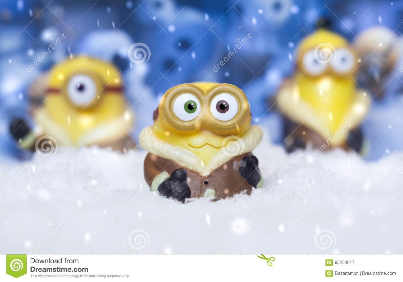 toy minions in snow editorial photography image of funny 95254617