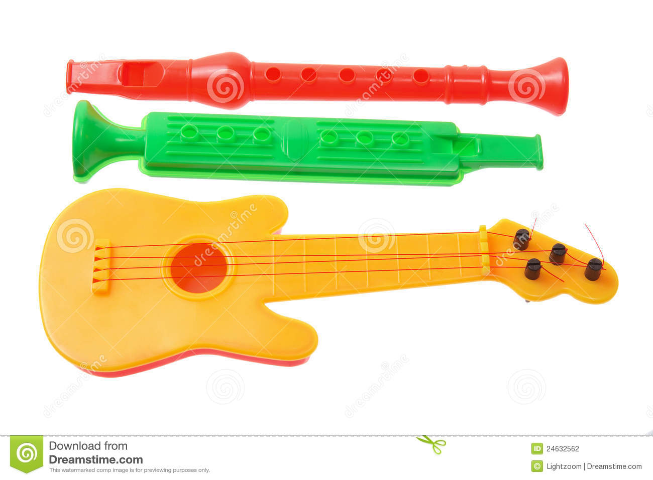 Musical Toy Trumpet : Toy musical instruments stock photography image