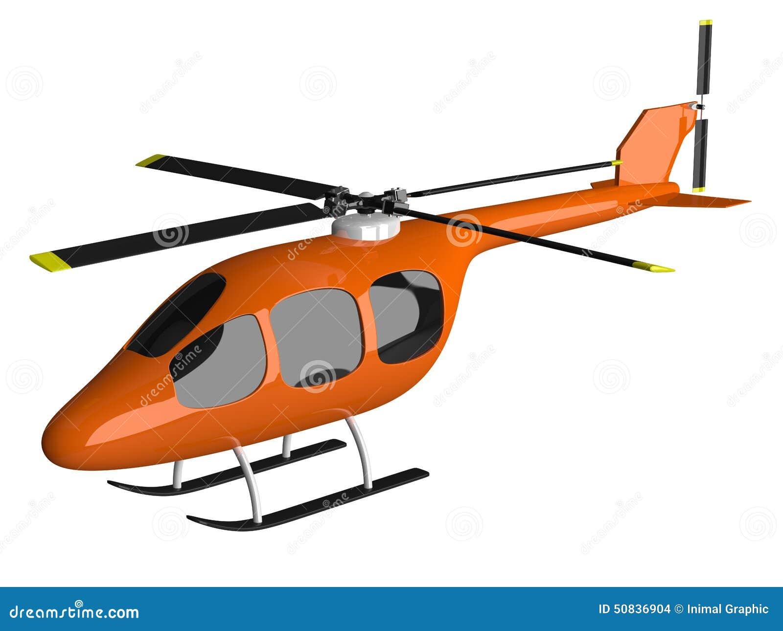 Elicottero Arancione : Toy orange helicopter isolated stock illustration