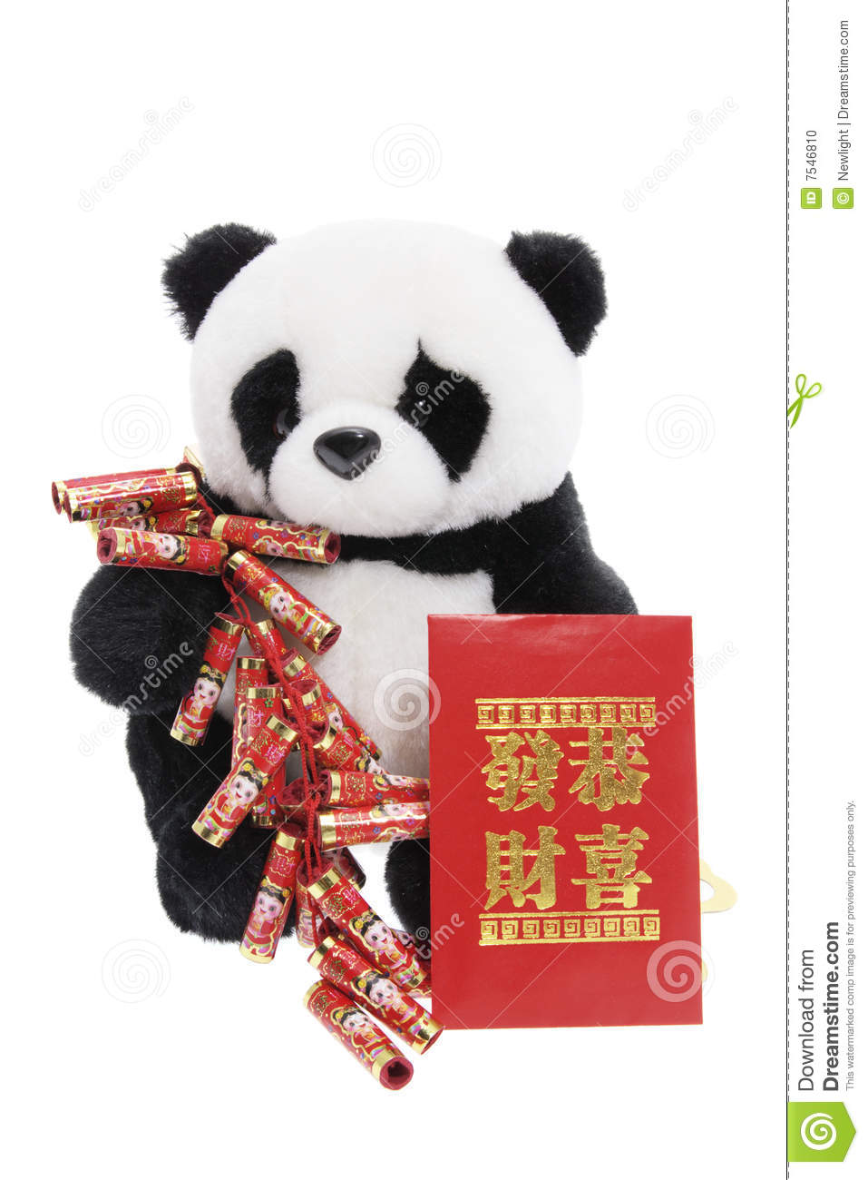 Toys For Chinese New Year : Toy panda with chinese new year decorations stock photo