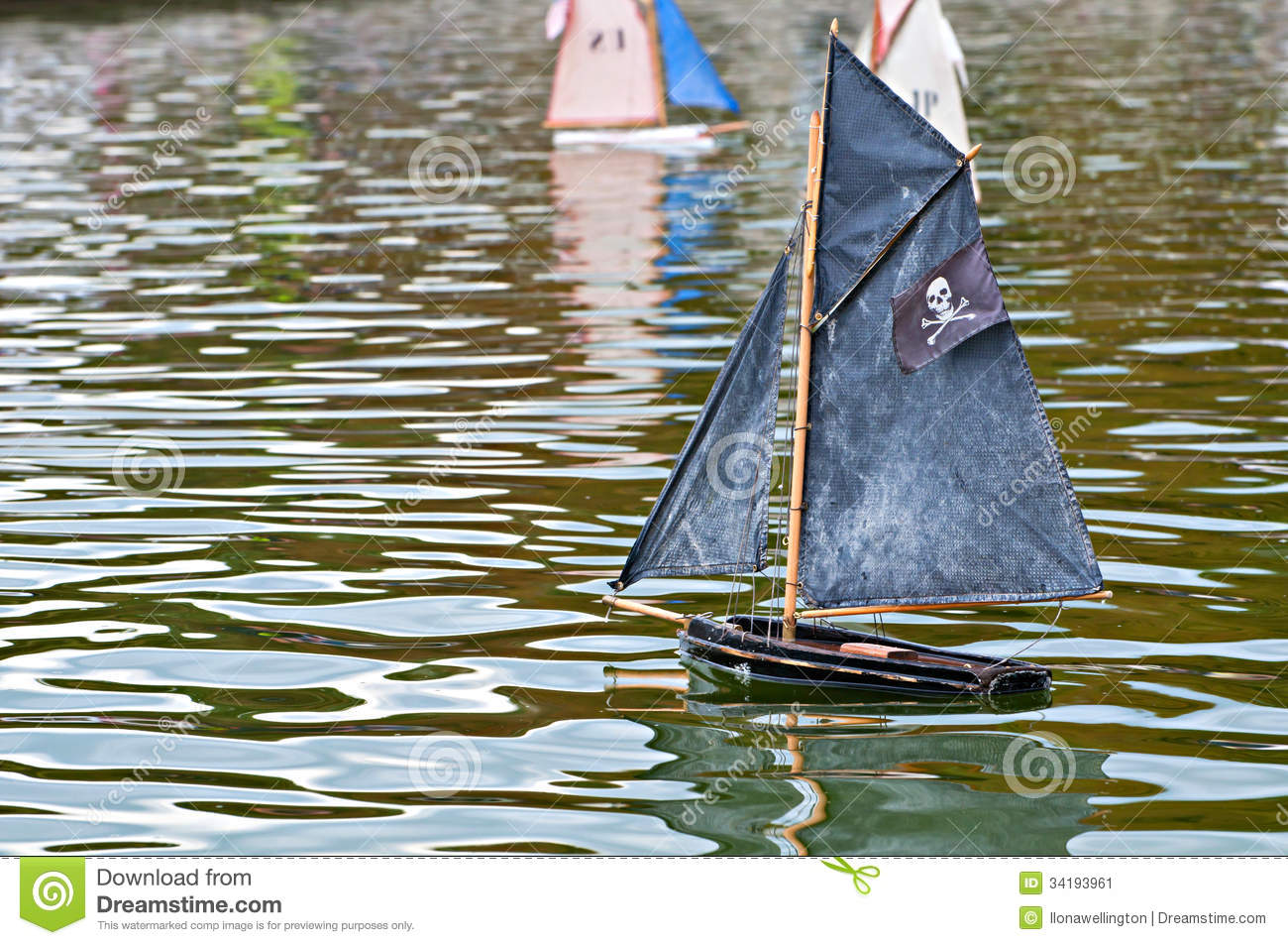 Toy pirate ship in a pond