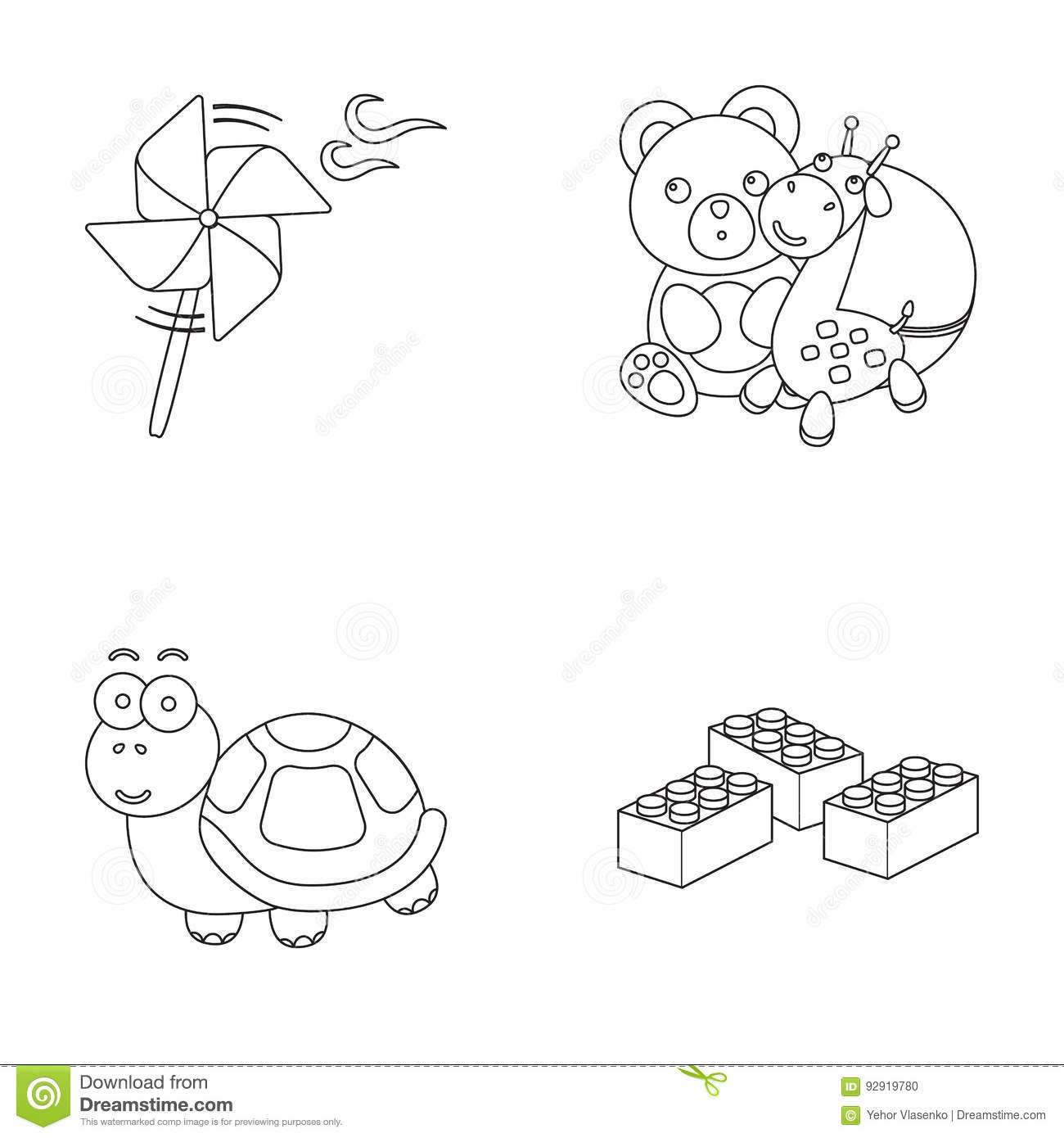 A toy propeller, a teddy bear with a giraffe and a colorful ball, a toy turtle, a lego, a designer for children. Toys