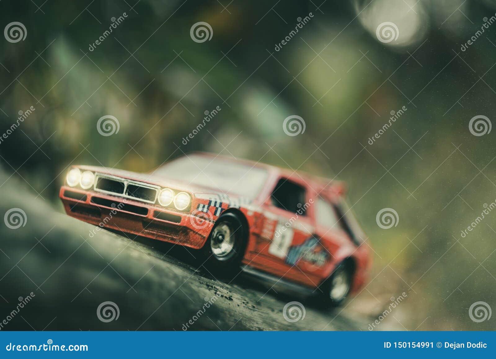 Toy retro rally car model