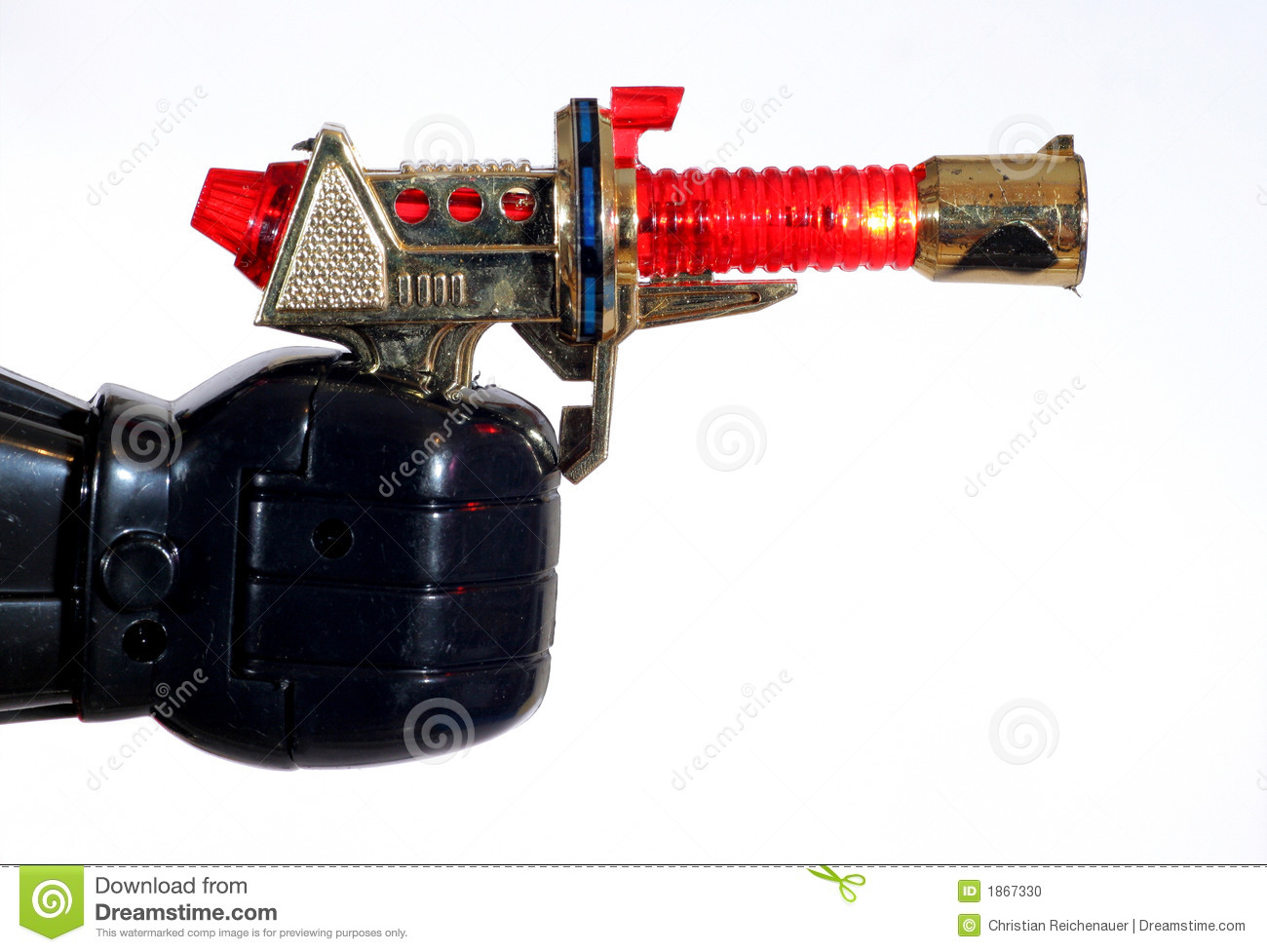 toy robot hand holding a lighting gun stock photo image