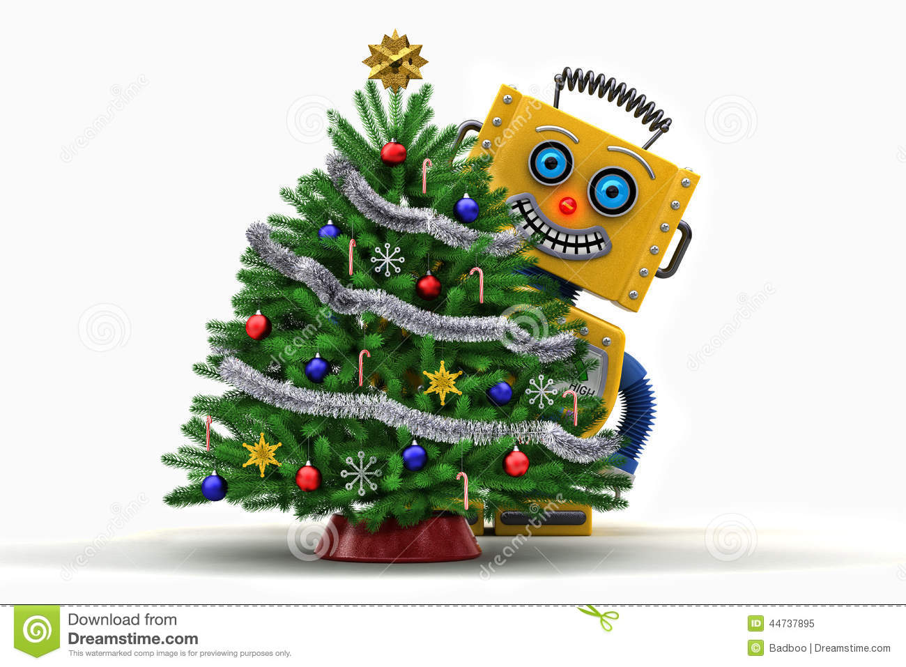 Christmas Robot Toys : Toy robot happy with christmas tree stock illustration