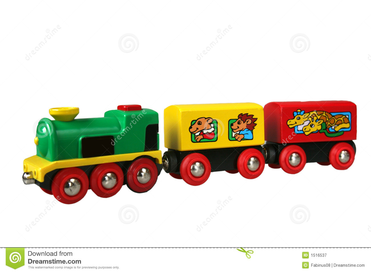 Toy's train with wagon 2 stock image. Image of green ...