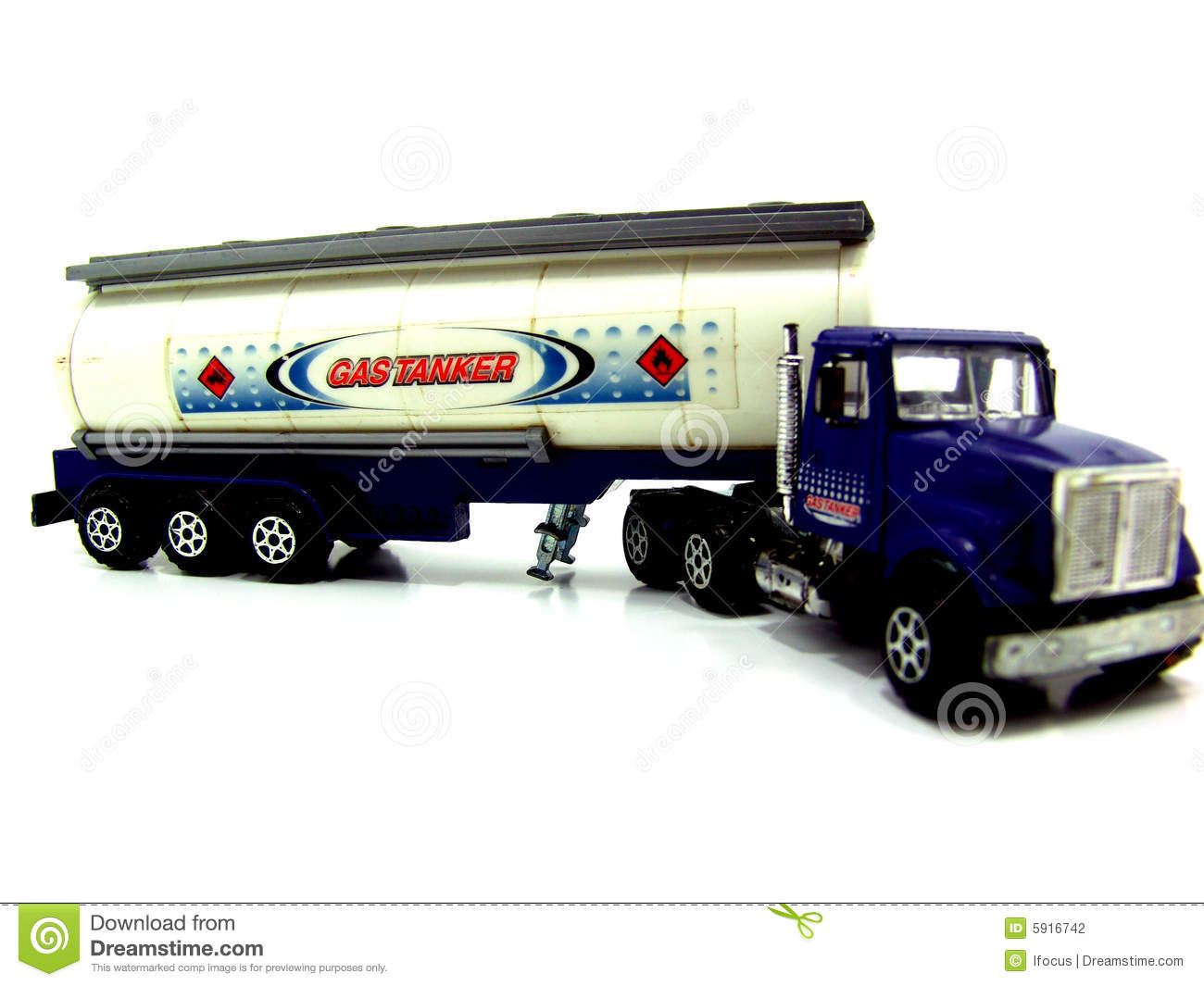 Toy Semi Trucks And Trailers : Scale model of oil tank trailer stock photography image