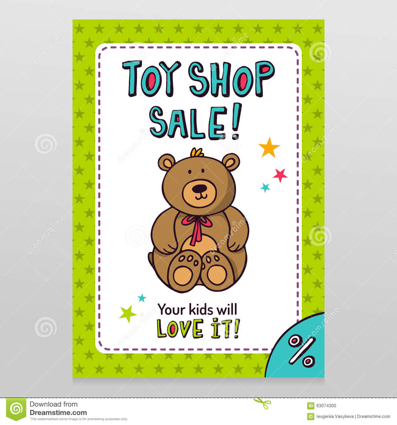toy shop vector flyer design teddy bear stock vector toy shop vector flyer design teddy bear