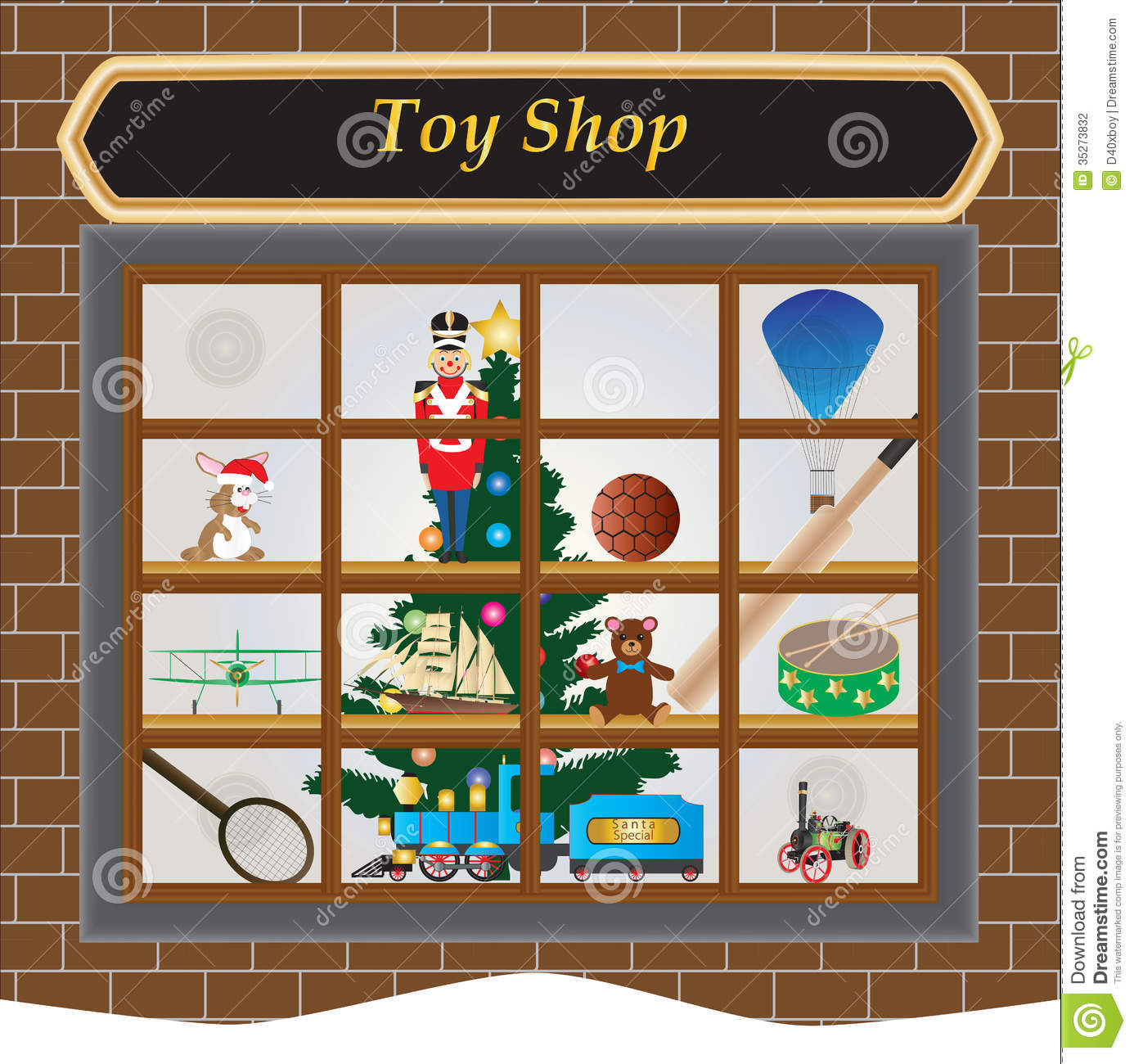 Christmas Toy Store : Toy shop stock vector image of doll balloon sale