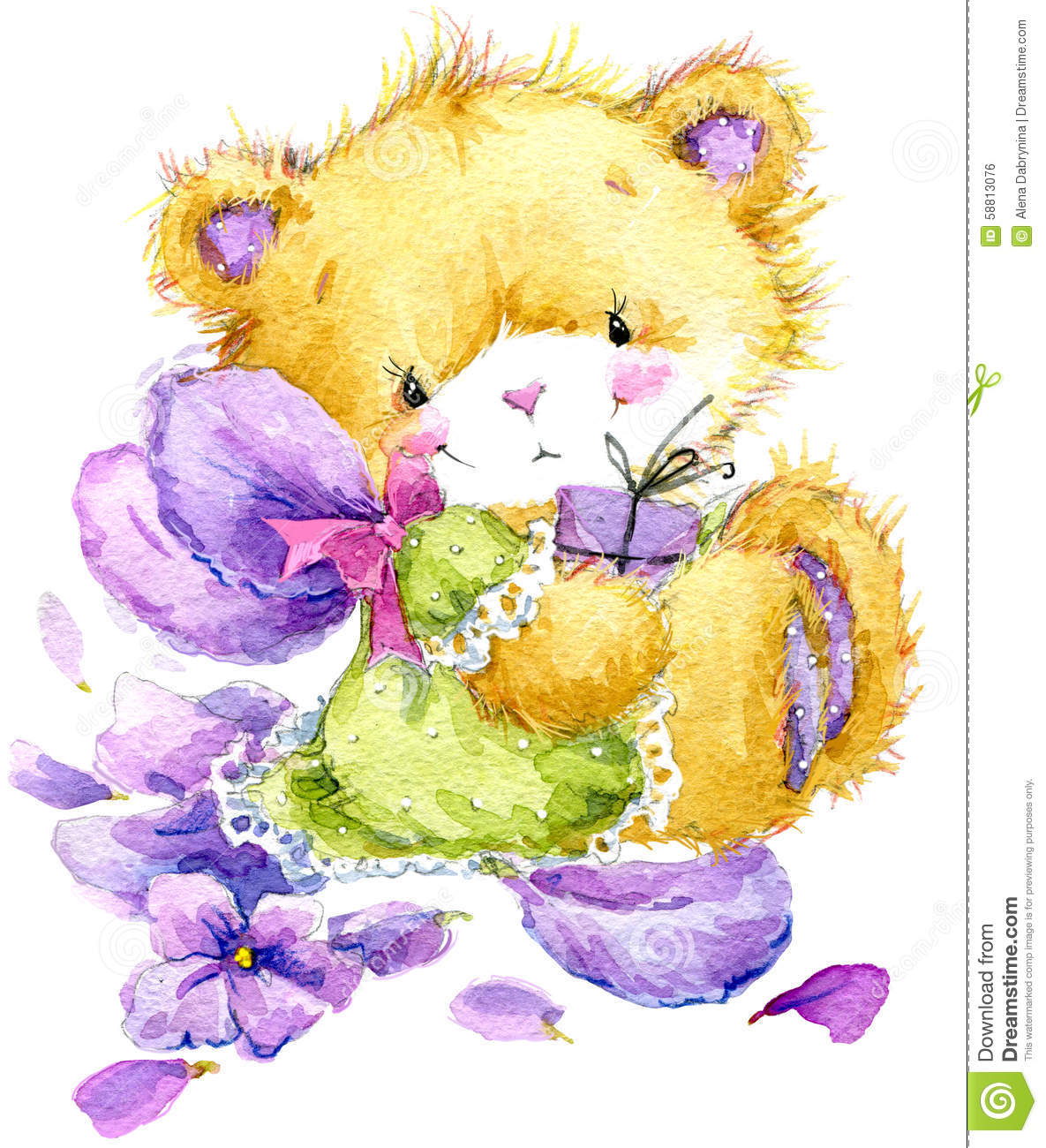 Toy Teddy bear and flower violet. watercolor illustration