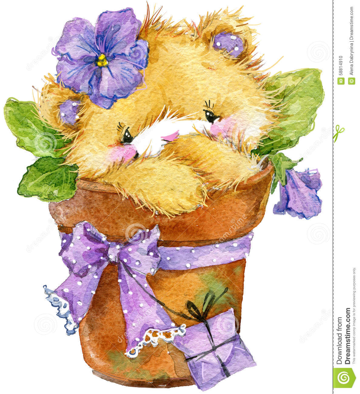 Toy Teddy Bear And Flower Violet Watercolor Illustration Stock