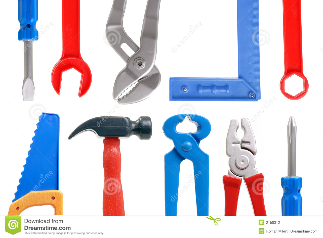 Set of plastic toy tools over white background.