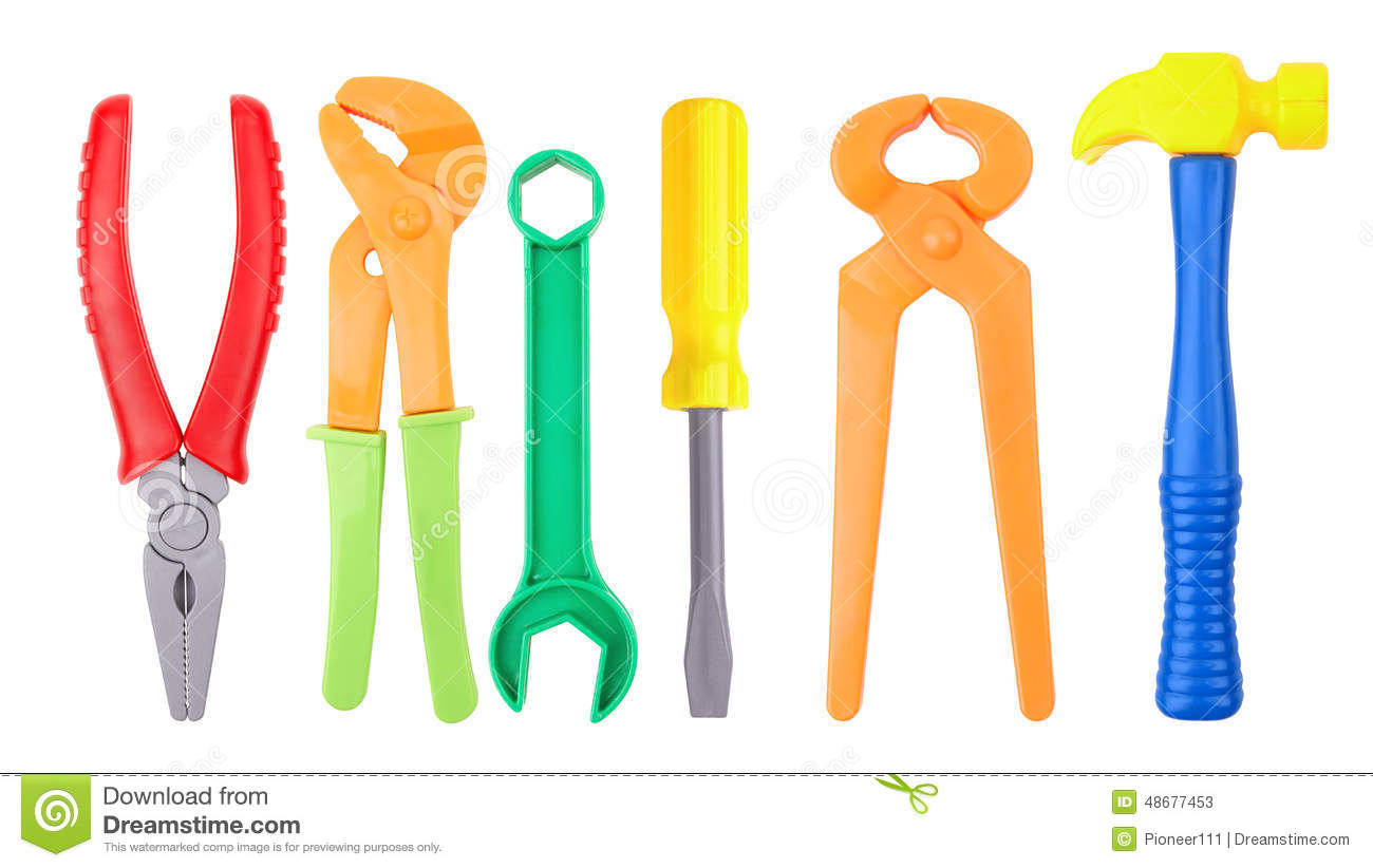 Plastic Toy Tools : Toy tools stock image of background screwdriver