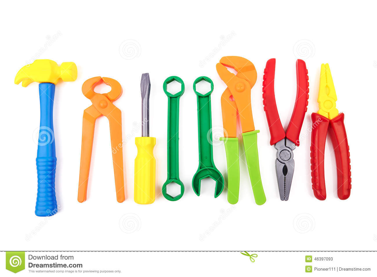 Plastic Toy Tools : Toy tools stock image of worker work forceps