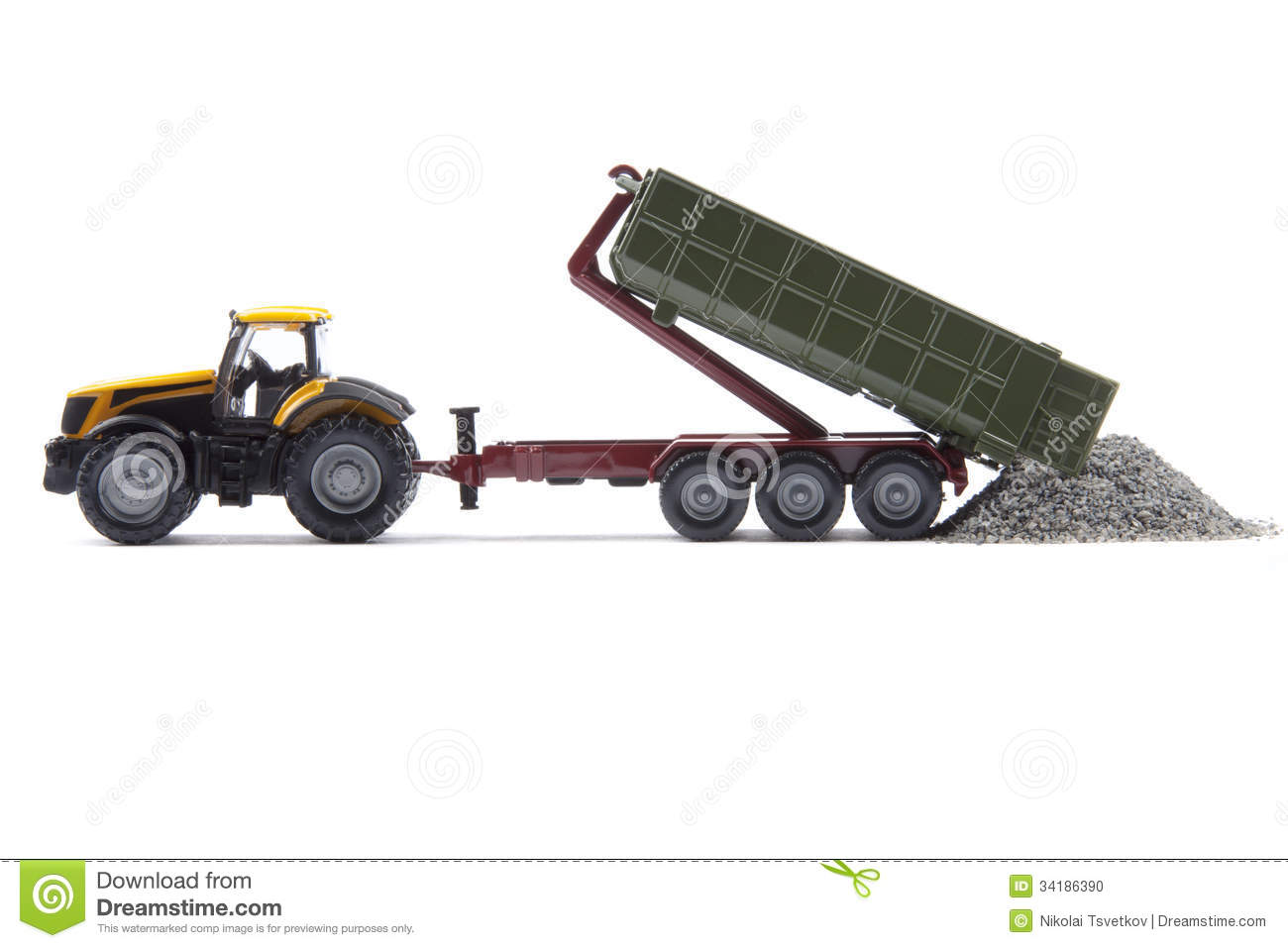 Toy Semi Tractor : Toy tractor with semi trailer stock photo image
