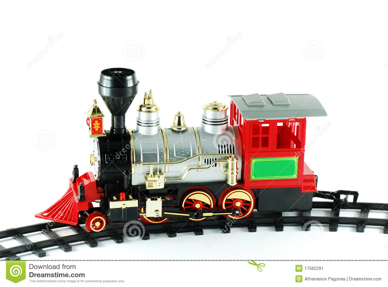 It is an isolated toy train on white background.