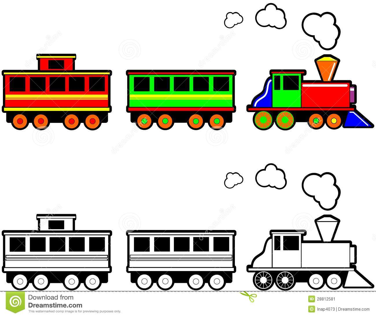 Cartoon illustration of a toy steam engine train in color and black ...