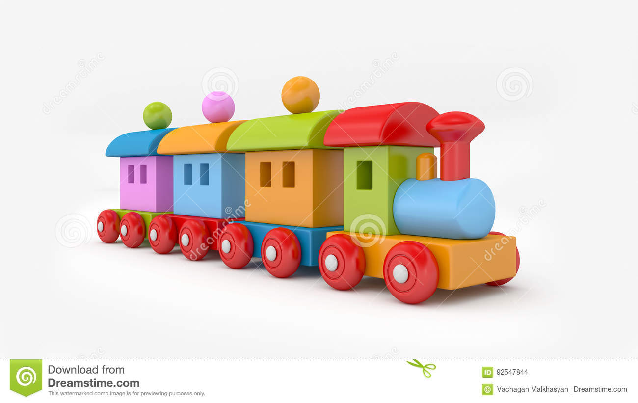 Toy train. 3D rendering