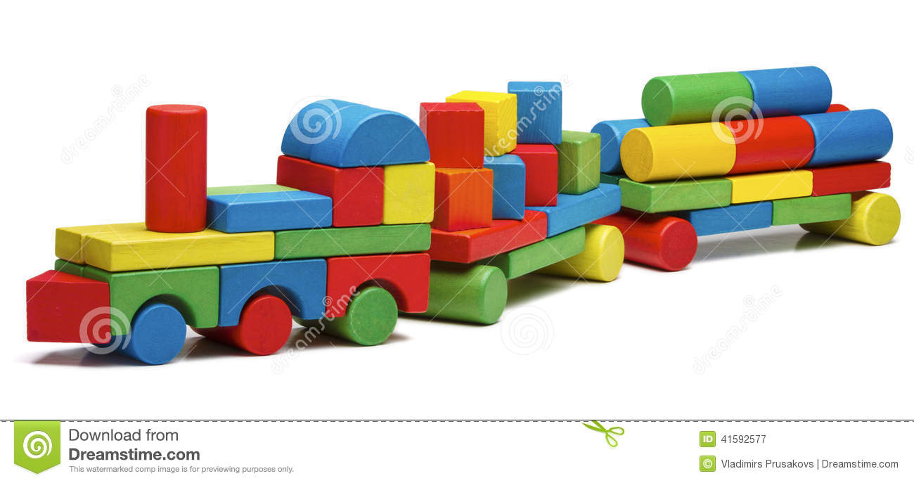 Toy Train Goods Van, Wooden Blocks Cargo Railway Transportation Stock Photo - Image: 41592577