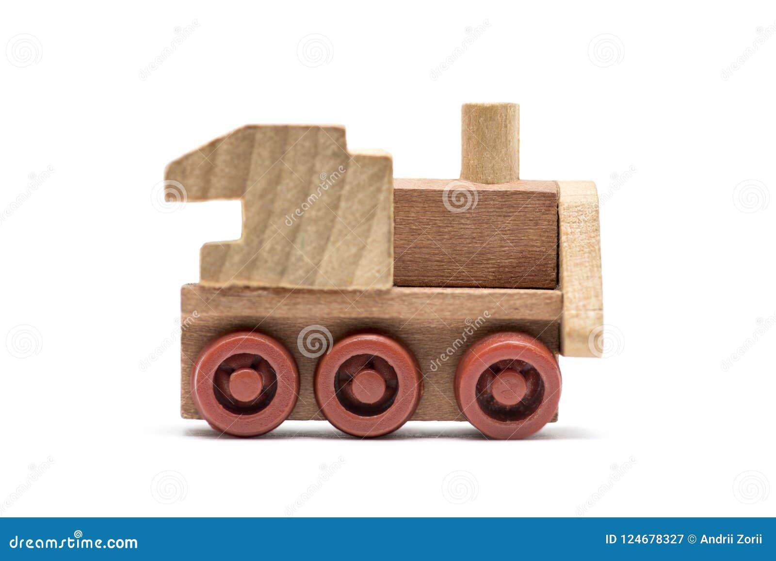 Toy Train op een witte achtergrond wordt geïsoleerd die Voortbewegings, houten die trein, stuk speelgoed op een witte achtergrond